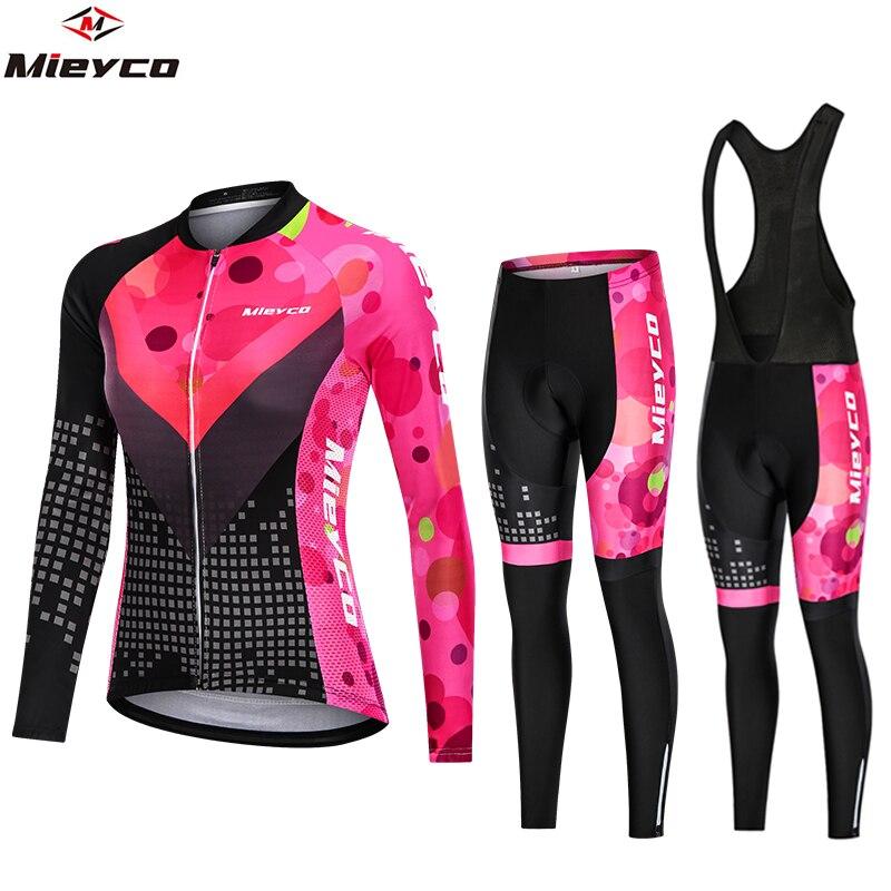 Bike Woman Clothing Road Bike Suit Mtb Cycling Jersey Set Women's Mountain Bike Cycling Bib Pants Jumpsuit Long Sleeve Vtt Cloth